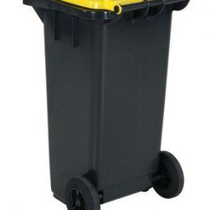 Avfallskärl 120 L, gult lock